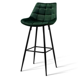 Artiss Set of 2 Velvet Bar Stools - Green