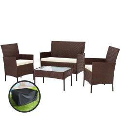 Gardeon Garden Furniture Outdoor Lounge Setting Rattan Set Patio Storage Cover Brown
