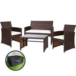 Gardeon Garden Furniture Outdoor Lounge Setting Wicker Sofa Set Storage Cover Brown