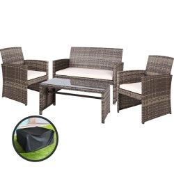 Gardeon Garden Furniture Outdoor Lounge Setting Wicker Sofa Set Storage Cover Mixed Grey