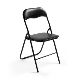 Artiss 4x Portable Vinyl Folding Chair Padded Seat Steel Frame Black 4 Pack