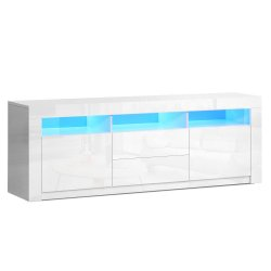 Artiss TV Cabinet Entertainment Unit Stand RGB LED High Gloss Furniture Storage Drawers Shelf 200cm White