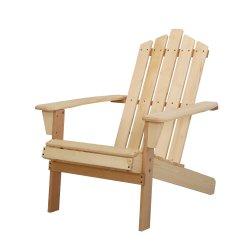 Gardeon Outdoor Sun Lounge Beach Chairs Table Setting Wooden Adirondack Patio Chair Light Wood Tone