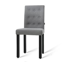 Artiss Set of 2 DONA Dining Chair Fabric Foam Padded High Back Wooden Kitchen Grey