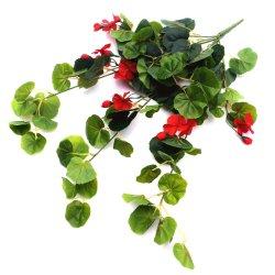 Artificial Geranium Hanging Bush with Red Flowers 60cm