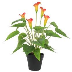 Artificial Flowering White & Orange Peace Lily / Calla Lily Plant 50cm