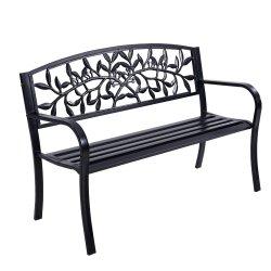 Gardeon Garden Bench Seat Chair Steel Outdoor Patio Park Lounge Furniture Black