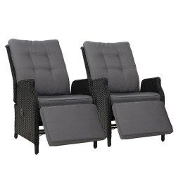 Gardeon Recliner Chairs Sun lounge Outdoor Furniture Setting Patio Wicker Sofa Black 2pcs