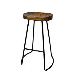 Artiss Set of 4 Elm Wood Backless Bar Stools 75cm - Black