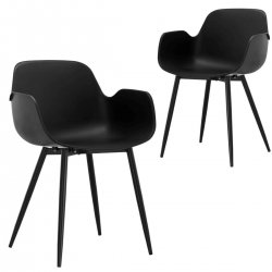 Looney Black Elegant Armrest Dining Chair Set of 2