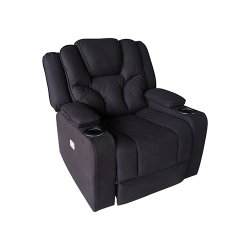 Arnold Rhino Fabric Black Headrest Padded Seat Recliner Sofa 1R