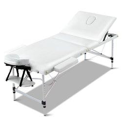 Zenses 3 Fold Portable Aluminium Massage Table - White