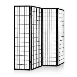 Artiss 4 Panel Wooden Room Divider - Black