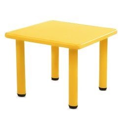 Keezi Kids Children Painting Activity Study Plastic Desk Yellow Table 60x60cm