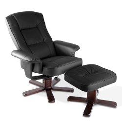 Artiss PU Leather Wood Armchair Recliner - Black
