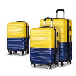 Wanderlite 3 Piece Lightweight Hard Suit Case Luggage Yellow and Navy