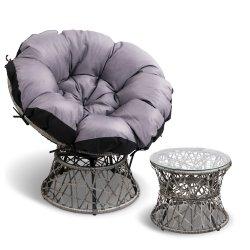 Gardeon Papasan Chair and Side Table - Grey