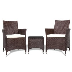Gardeon 3pc Rattan Bistro Wicker Outdoor Furniture Set Brown