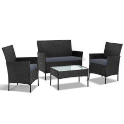 Gardeon 4-piece Wicker Outdoor Set - Black
