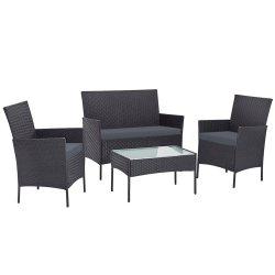 Gardeon Outdoor Furniture Wicker Set Chair Table Dark Grey 4pc