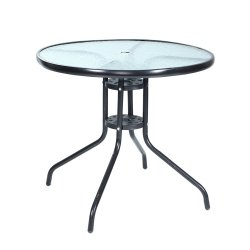 Gardeon Outdoor Dining Table Bar Setting Steel Glass 70CM