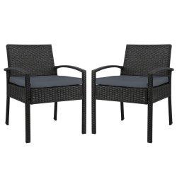 2x Outdoor Dining Chairs Wicker Chair Patio Garden Furniture Lounge Setting Bistro Set Cafe Cushion Gardeon Black