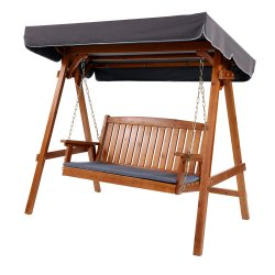 Gardeon Wooden Swing Chair Garden Bench Canopy 3 Seater Outdoor Furniture