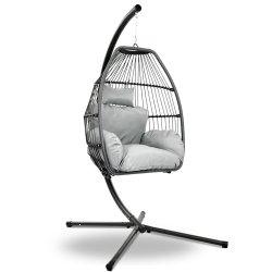Gardeon Outdoor Furniture Egg Hammock Hanging Swing Chair Stand Pod Wicker Grey
