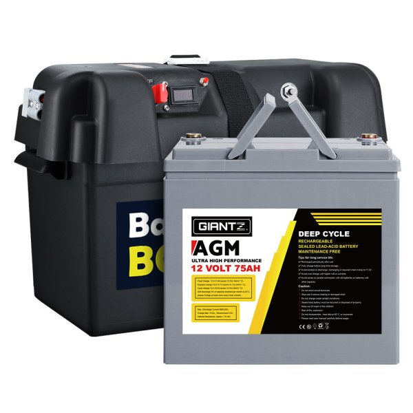 Giantz 75Ah Deep Cycle Battery & Battery Box 12V AGM Marine Sealed Power Solar Caravan 4WD Camping