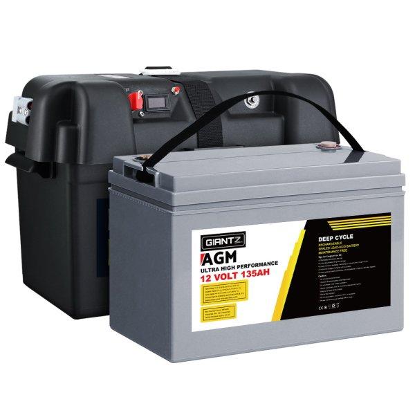 Giantz 135Ah Deep Cycle Battery & Battery Box 12V AGM Marine Sealed Power Solar Caravan 4WD Camping
