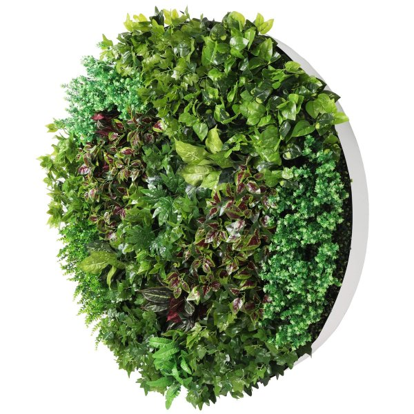 Artificial Green Wall Disc Art 150cm Dense Green Sensation (Fresh White)