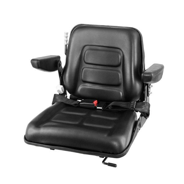 Giantz Tractor Seat with Armrest Forklift Excavator Bulldozer Universal Suspension Backrest Truck Chair black