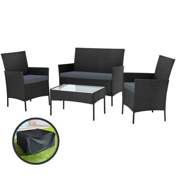 Gardeon Garden Furniture Outdoor Lounge Setting Wicker Sofa Patio Storage Cover Black