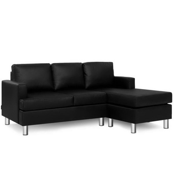 Artiss Sofa Lounge Set Couch Futon Corner Chaise Leather 4 Seater Suite Black