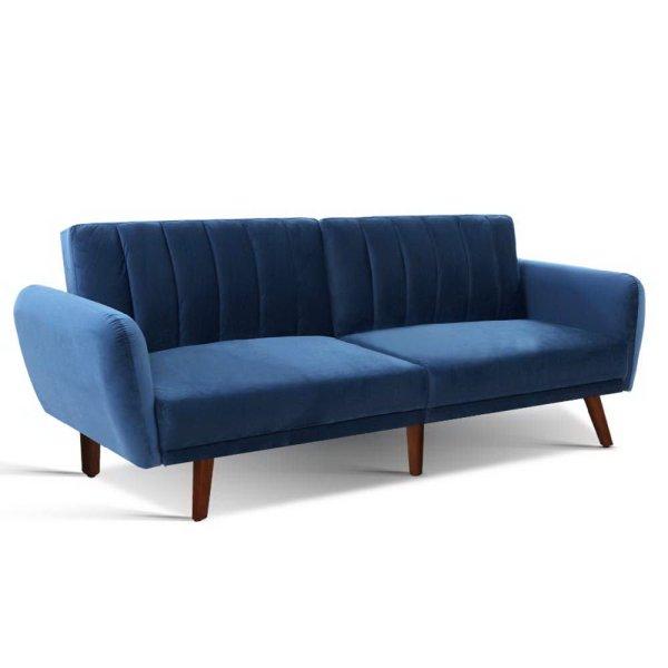 Artiss Sofa Bed Lounge 3 Seater Futon Couch Recline Chair Wooden 207cm Velvet Blue