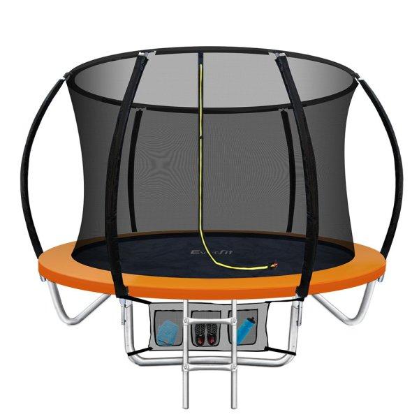 Everfit 8FT Trampoline Round Trampolines Kids Enclosure Safety Net Pad Outdoor Orange