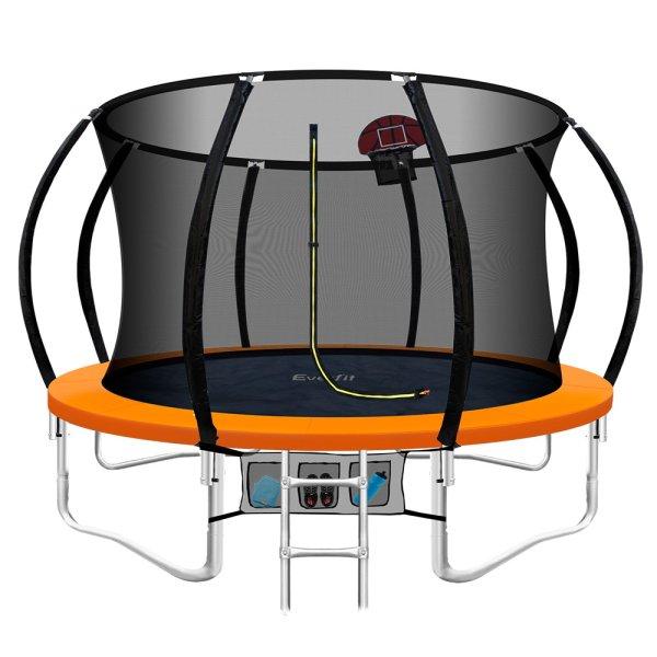 Everfit 10FT Trampoline Round Trampolines Kids Enclosure Safety Net Pad Outdoor Orange