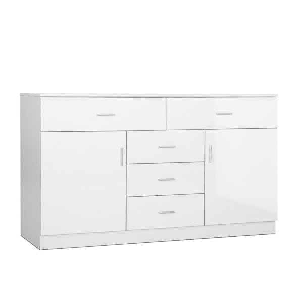 Artiss Buffet Sideboard Cabinet High Gloss Storage Dresser Table Cupboard White
