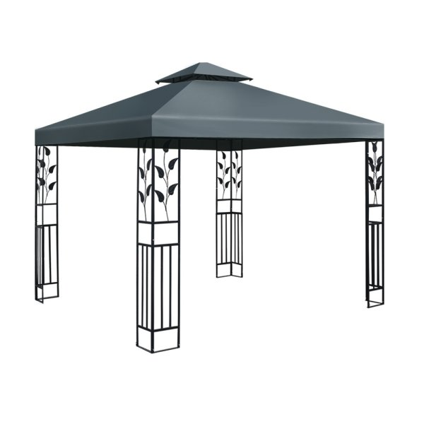 Instahut Gazebo 3x3m Party Marquee Outdoor Wedding Event Tent Iron Art Canopy Grey