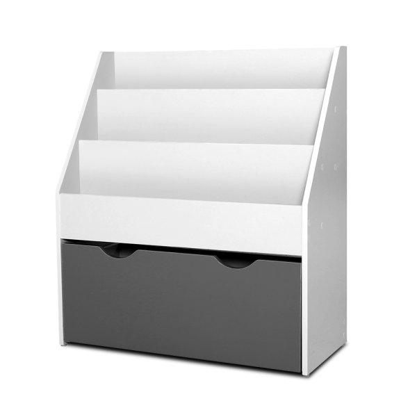 Keezi Kids Bookshelf Childrens Bookcase Organiser Storage Shelf Wooden White