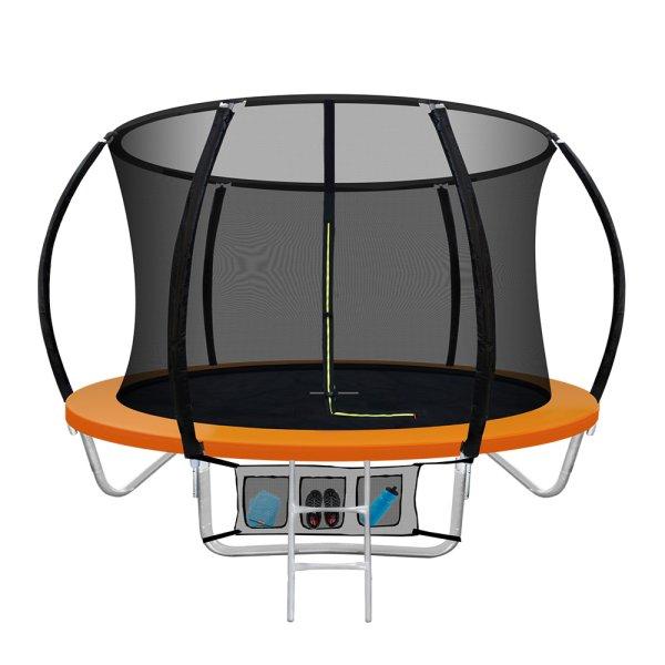 Everfit 8FT Trampoline Round Trampolines Kids Present Gift Enclosure Safety Net Pad Outdoor Orange