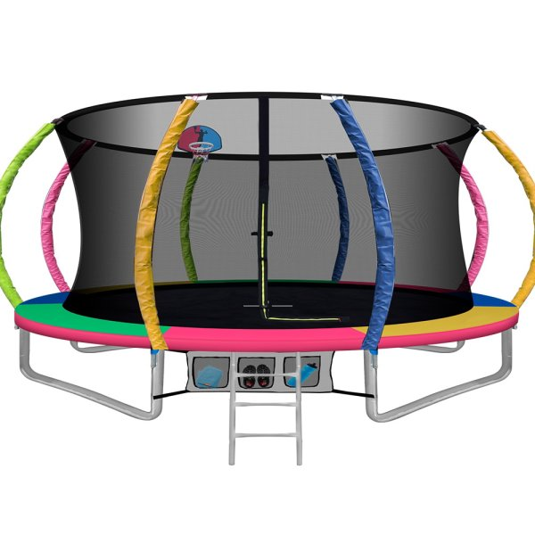 Everfit 14FT Trampoline Round Trampolines With Basketball Hoop Kids Present Gift Enclosure Safety Net Pad Outdoor Multi-coloured