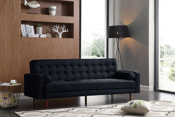 Sofa Marcella Black Velvet Fabric