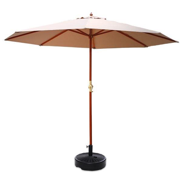Instahut Outdoor Umbrella Pole Umbrellas 3M with Base Garden Stand Deck Beige