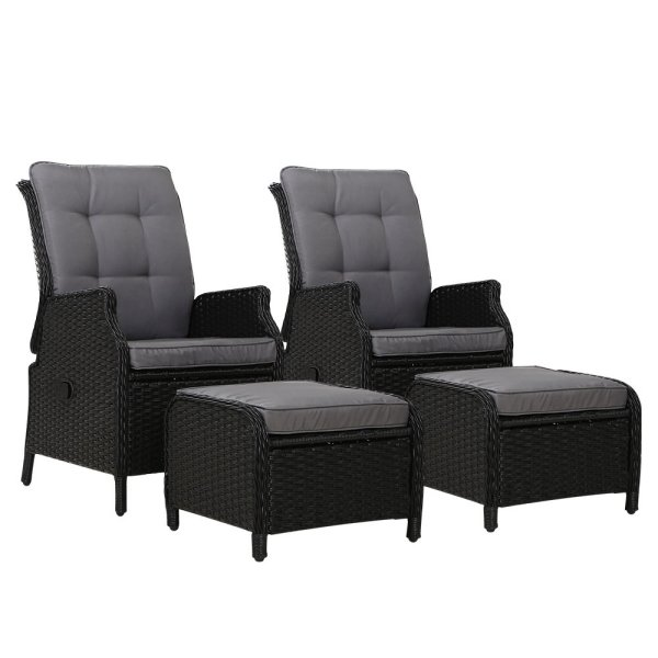 Gardeon Set of 2 Recliner Chairs Sun lounge Outdoor Setting Patio Furniture Wicker Sofa