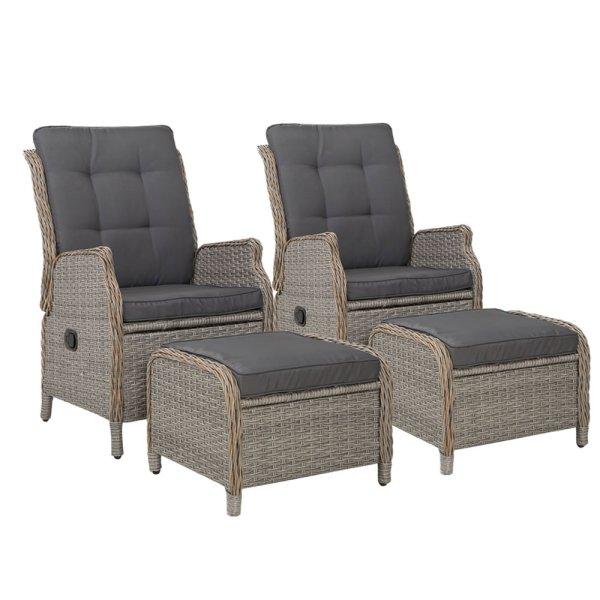 Gardeon Set of 2 Recliner Chairs Sun lounge Outdoor Patio Furniture Wicker Sofa Lounger