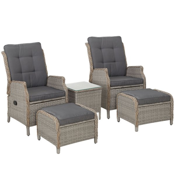 Gardeon Recliner Chairs Sun lounge Outdoor Setting Patio Furniture Garden Wicker