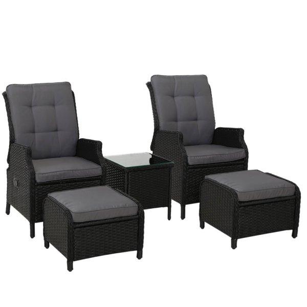 Gardeon Recliner Chairs Sun lounge Setting Outdoor Furniture Patio Garden Wicker