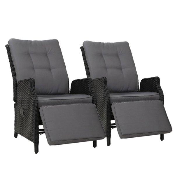 Gardeon Set of 2 Recliner Chairs Sun lounge Outdoor Furniture Setting Patio Wicker Sofa Black