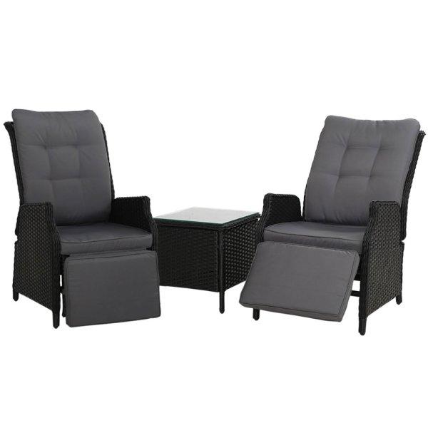 Gardeon Recliner Chairs Sun lounge Setting Outdoor Furniture Patio Wicker Sofa